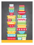 KitchenBar_VintageBowls2 Poster por Jilly Jack Designs