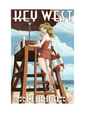 Key West, Florida - Lifeguard Pinup Girl Metal Print by  Lantern Press