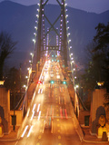 Lion's Gate Bridge Early Evening, Stanley Park, Vancouver, Canada Metal Print by Lawrence Worcester