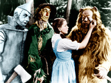 THE WIZARD OF OZ, from left: Jack Haley, Ray Bolger, Judy Garland, Bert Lahr, 1939 Metal Print