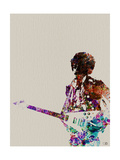 Hendrix With Guitar Watercolor Metal Print by  NaxArt