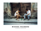 Two Men Playing Chess on a Stoop; Havana, Cuba 1999 Photographic Print by Michael Halsband