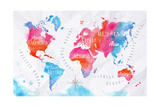 Watercolor World Map Pink Blue Poster by  anna42f