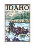 White Water Rafting, Idaho Metal Print by  Lantern Press