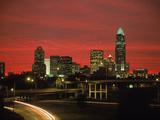 Skyline & Highway at Night, Charlotte, NC Metal Print by Jim McGuire