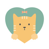 Animal Set. Portrait of a Red Cat in Love in Flat Graphics Posters by  sonyakamoz