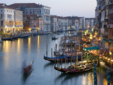 Outlook from Ponte Di Rialto Along Grand Canal at Dusk Metal Print by David Tomlinson