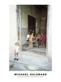 Boy Peeing in the Street While Dad Is Playing Dominos Havana, Cuba 1999 Photographic Print by Michael Halsband