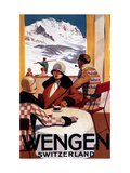 Wengen, Switzerland - The Downhill Club Promotional Poster Metal Print by  Lantern Press