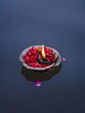 Flower Lamp on the Ganges River, Varanasi, India Metal Print by Keren Su