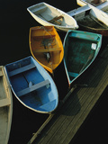 Skiffs Tied up at a Dock in the Inner Harbor at Rockport Metal Print by Tim Laman