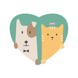 Animal Set. Portrait of a Dog and Cat in Love over Heart Backdrop Poster by  sonyakamoz
