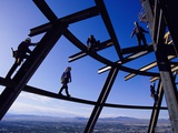 Construction Workers on Beams at the Top of the Statosphere Tower, Las Vegas, Nevada Metal Print by Paul Chesley
