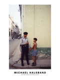 Police Officer and Boy in Street; Havana, Cuba 1999 Photographic Print by Michael Halsband