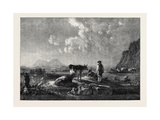 Cowherds and Cattle, in Evening. Landscape Giclee Print by Aelbert Cuyp