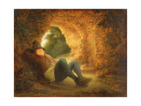 Peasant Sleeping in a Ruined Vault, 1644 (Panel) Giclee Print by Adriaen Jansz. Van Ostade