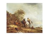 Landscape with Riders Giclee Print by Adriaen Jansz. Van Ostade