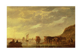 A Herdsman with Five Cows by a River, C.1650 (Panel) Giclee Print by Aelbert Cuyp