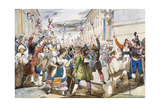 Last Day of Carnival in Rome with Moccoletti Candles Giclee Print by Achille Pinelli