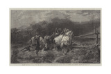 Horses Escaping from a Fire Giclee Print by Adolf Schreyer