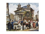 Strawberry Festival at Pantheon in Rome Giclee Print by Achille Pinelli
