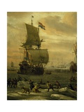Whaling in Arctic Ocean, Ca 1665 Giclee Print by Abraham Storck