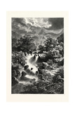 Waterfall in the Pyrenees Giclee Print by Albert Rieger