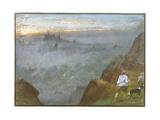 Edinburgh from Salisbury Crags, 1917 Giclee Print by Albert Goodwin