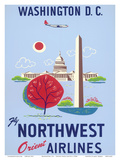 Washington, D.C. - United States Capitol - Washington Monument - Fly Northwest Orient Airlines Prints