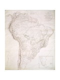 Outlines of the Physical and Political Divisions of South America, 1810 Giclee Print by Aaron Arrowsmith