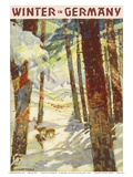 Winter In Germany - Deer in Snow Covered Forest Prints by Werner and Maria von Axster-Heudtlaß