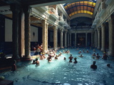 People Bathing in the Hotel Gellert Baths, Budapest, Hungary, Europe Metal Print by Woolfitt Adam