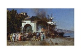 Market Along Bosphorus Reproduction procédé giclée par Alberto Pasini