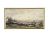 Extensive Landscape with Cottage and Cattle (Black Chalk, Grey and Yellow Wash) Giclee Print by Aelbert Cuyp