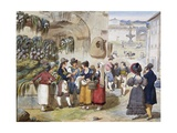 Herb Sellers in Piazza Barberini in Rome Giclee Print by Achille Pinelli