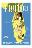 Florida - Golf - Scuba Diving - Sunbathing - Delta Air Lines Poster