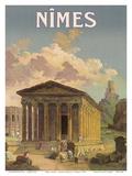 Nîmes, France - Maison Carrée Roman Temple Print by F. Granès