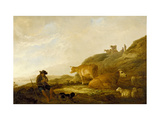 Seated Shepherd with Cows and Sheep in a Meadow, 1644 (Oil on Oak Panel) Giclee Print by Aelbert Cuyp