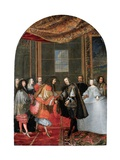 The Meeting Between Kings Philip IV and Louis XIV on Pheasant Island Giclee Print by Adam Frans van der Meulen