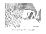 A married couple in bed, where the husband is getting rained on, and the w… - New Yorker Cartoon Premium Giclee Print by Michael Crawford