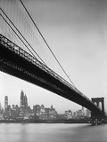 Brooklyn Bridge and Manhattan Skyline Metal Print by Charles E. Rotkin