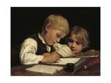 A Boy Writing; Schreibender Knabe Mit Schwesterchen, 1875 Giclee Print by Albert Anker
