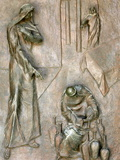 Sculpture on Door Depicting the Miracle of the Wedding at Cana, Annunciation Basilica Metal Print by  Godong