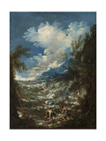 Landscape with Fishermen, C.1730 Giclée-tryk af Alessandro Magnasco