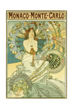 Monaco Monte-Carlo', Depicting a Maiden Within a Halo of Blossoms, 1897 (Lithograph in Colours) Giclee Print by Alphonse Mucha
