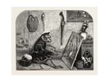 Salon of 1855. Monkey Painter, 1855 Giclee Print by Alexandre Gabriel Decamps