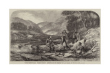 River Scene, Wales, Salmon-Fishing, Ascertaining the Weight Giclee Print by Alexander Rolfe