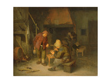 A Tavern Interior with Peasants Smoking and Drinking Giclee Print by Adriaen Jansz. Van Ostade