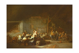 Barn Interior with Boors Carousing at a Wedding Giclee Print by Adriaen Jansz. Van Ostade