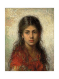 Girl with a Red Shawl Giclee Print by Alexei Alexevich Harlamoff